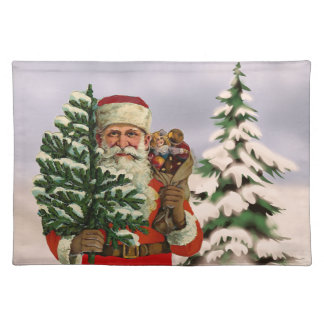 Vintage style Santa Claus on winter background Cloth Placemat