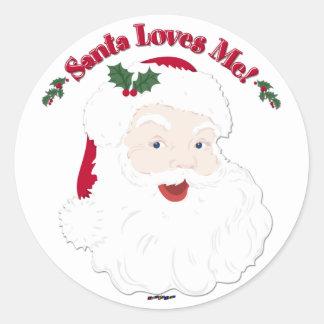 Vintage Style Santa Loves Me! Classic Round Sticker