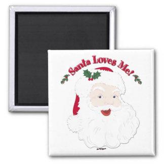 Vintage Style Santa Loves Me! Magnet
