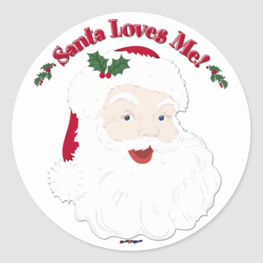 Vintage Style Santa Loves Me! Sticker