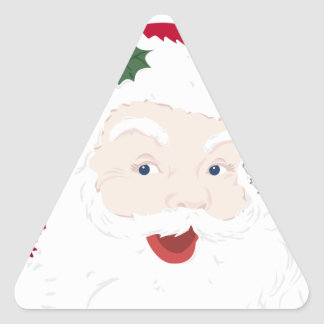 Vintage Style Santa Loves Me! Triangle Sticker