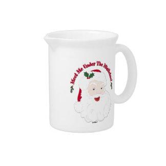 Vintage Style Santa Meet Me Under The Mistletoe! Beverage Pitcher