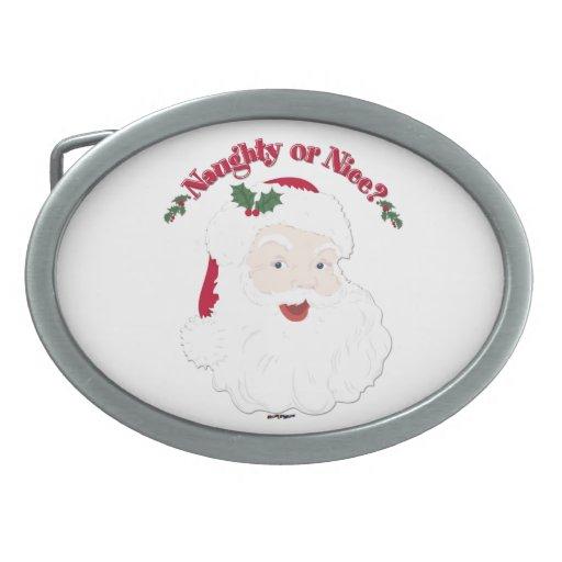 Vintage Style Santa Naughty or Nice? Belt Buckles