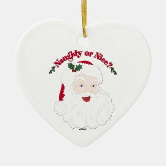 Vintage Style Santa Naughty or Nice? Ceramic Ornament