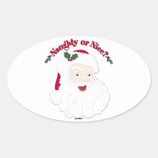 Vintage Style Santa Naughty or Nice? Oval Sticker