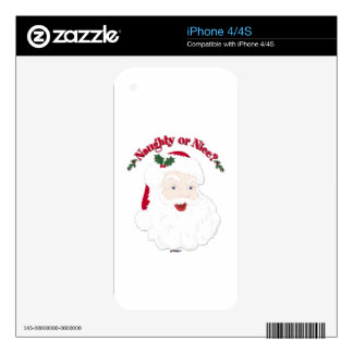 Vintage Style Santa Naughty or Nice? Skins For iPhone 4S