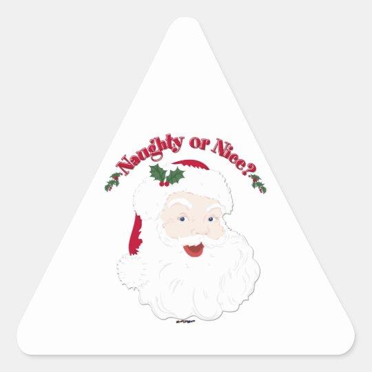 Vintage Style Santa Naughty or Nice? Triangle Sticker