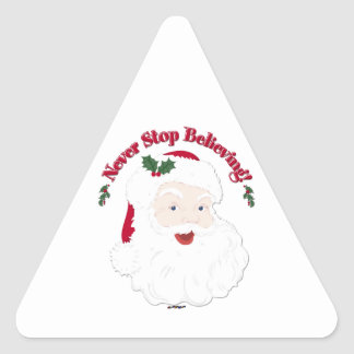 Vintage Style Santa Never Stop Believing Triangle Sticker