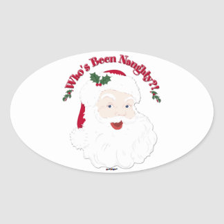 Vintage Style Santa Who's Been Naughty?! Oval Sticker