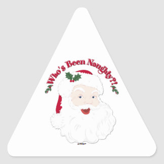 Vintage Style Santa Who's Been Naughty?! Triangle Sticker