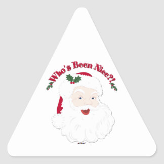 Vintage Style Santa Who's Been Nice?! Triangle Sticker