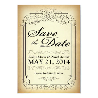 Vintage Style Scroll Save the Date Card