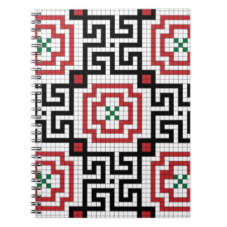 Vintage style seamless black white and red tile notebook