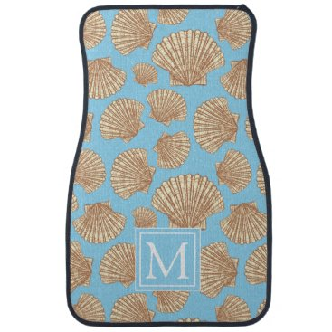 Beach Themed Vintage Style Seashell Pattern | Add Your Initial Car Floor Mat