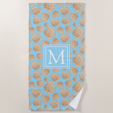 Beach Themed Vintage Style Seashell Pattern Beach Towel