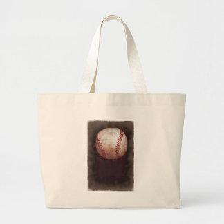 Vintage Style Sepia Baseball Artwork Large Tote Bag