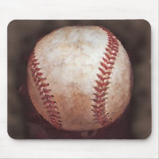 Vintage Style Sepia Baseball Artwork Mouse Pad