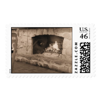 Vintage Style Sepia Fireplace Postage Stamps
