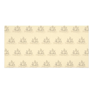 Vintage Style Ship Pattern, Beige Color. Photo Card