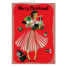 Vintage-Style Shopping Lady Christmas Card at Zazzle