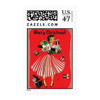 Vintage-Style Shopping Lady Christmas Stamp
