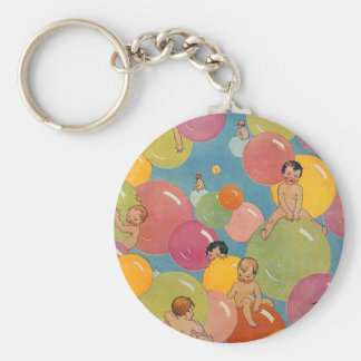 Vintage Style Shower of Babies on Colorful Bubbles Keychain