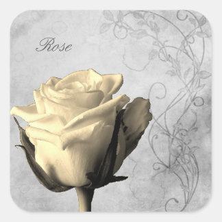 Vintage Style Single Rose Shabby Square Sticker