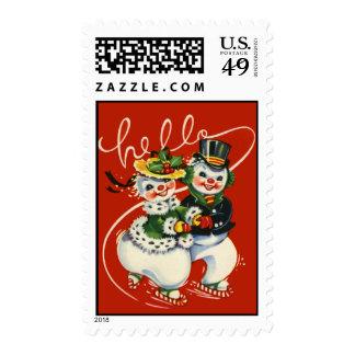 Vintage-Style Skating Snowmen Christmas Stamp