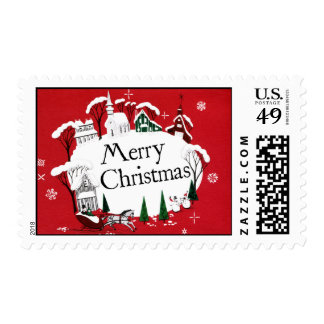 Vintage-Style Small Town Christmas Stamp