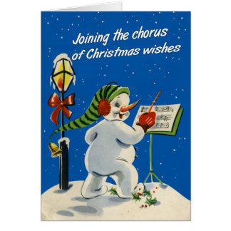 Vintage-Style Snowman Christmas Card
