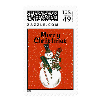 Vintage-Style Snowman Christmas Stamp
