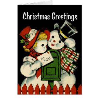 Vintage-Style Snowmen Christmas Card