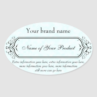 Vintage Style Soap and Cosmetics Label blue oval Oval Sticker
