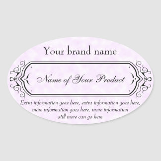 Vintage Style Soap and Cosmetics Label pink oval Oval Sticker