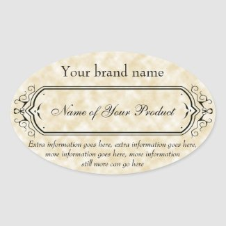 Vintage Style Soap and Cosmetics Label tan oval
