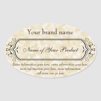 Vintage Style Soap and Cosmetics Label tan oval Oval Sticker