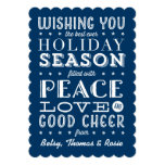 Vintage Style Stacked Type Holiday Navy Blue Card