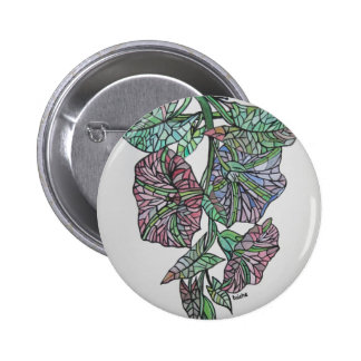 Vintage Style Stained Glass Morning Glory Button