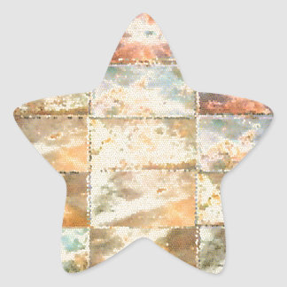 Vintage Style STAINED GLASS Tile Work Star Sticker