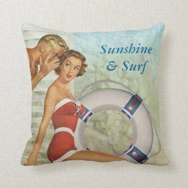 Beach Themed Vintage style sunshine & surf cushion