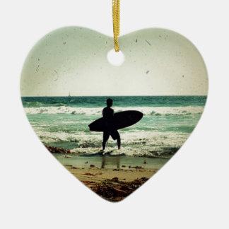 Vintage Style Surfer Silhouette Ceramic Ornament