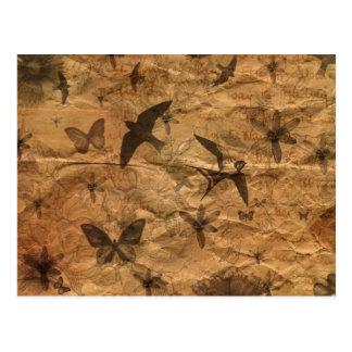 Vintage-Style Swallows, Butterflies, Flowers Postcard