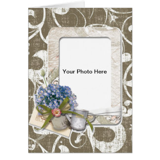 Vintage Style Taupe Swirl Frame Card