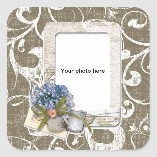 Vintage Style Taupe Swirl Frame Square Sticker