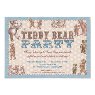 Vintage Style Teddy Bear Party Invitation - Blue