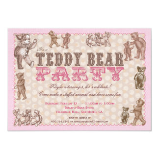 Vintage Style Teddy Bear Party Invitation - Pink