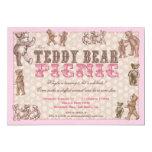 Vintage Style Teddy Bear Picnic Invitation - Pink