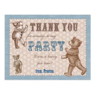 Vintage Style Teddy Bear Thank You Postcard