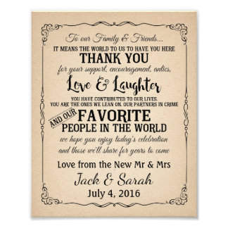 Vintage style Thank you wedding sign
