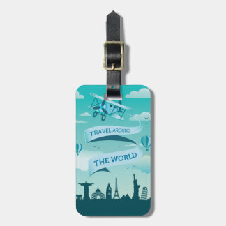 Vintage Style Travel Around the World Bag Tag